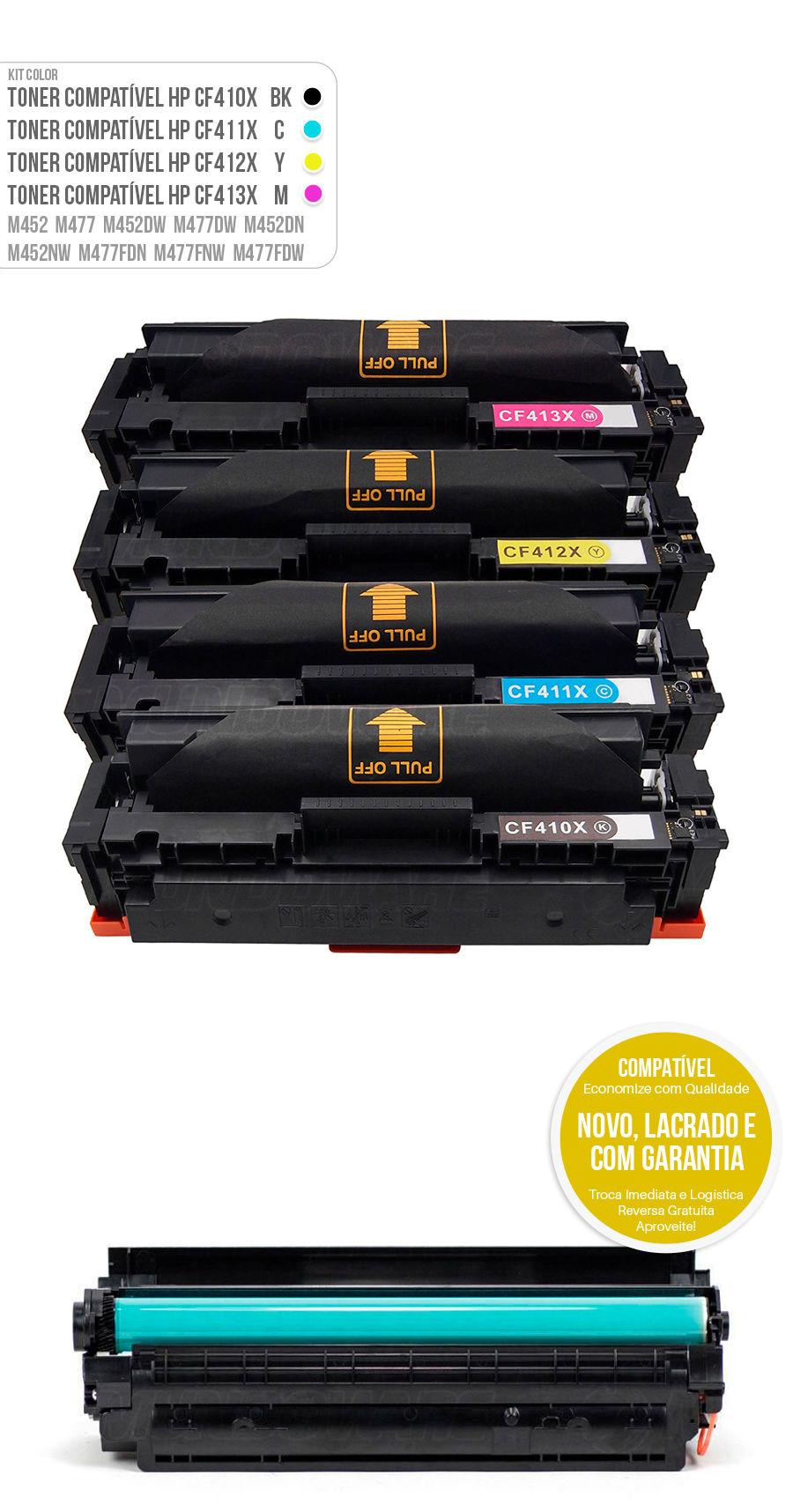 Kit colorido Color Laserjet M477 M452 M477FDW M452DN M477FNW M452NW Tonner HP 401X