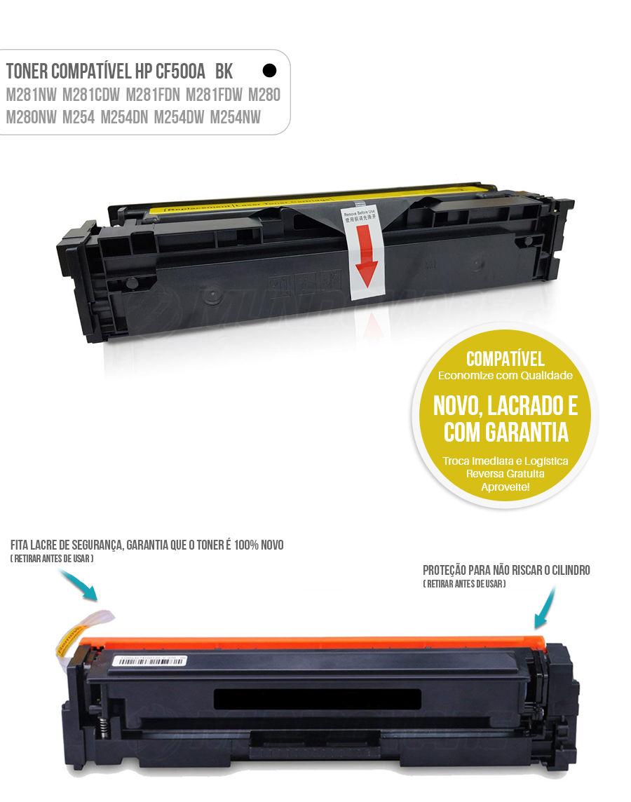 Toner Preto compatível com CF500A 500A para impressora HP M281 M281nw M281cdw M281fdn M281fdw M280 M280nw M254 M254dn M254dw M254nw Tonner