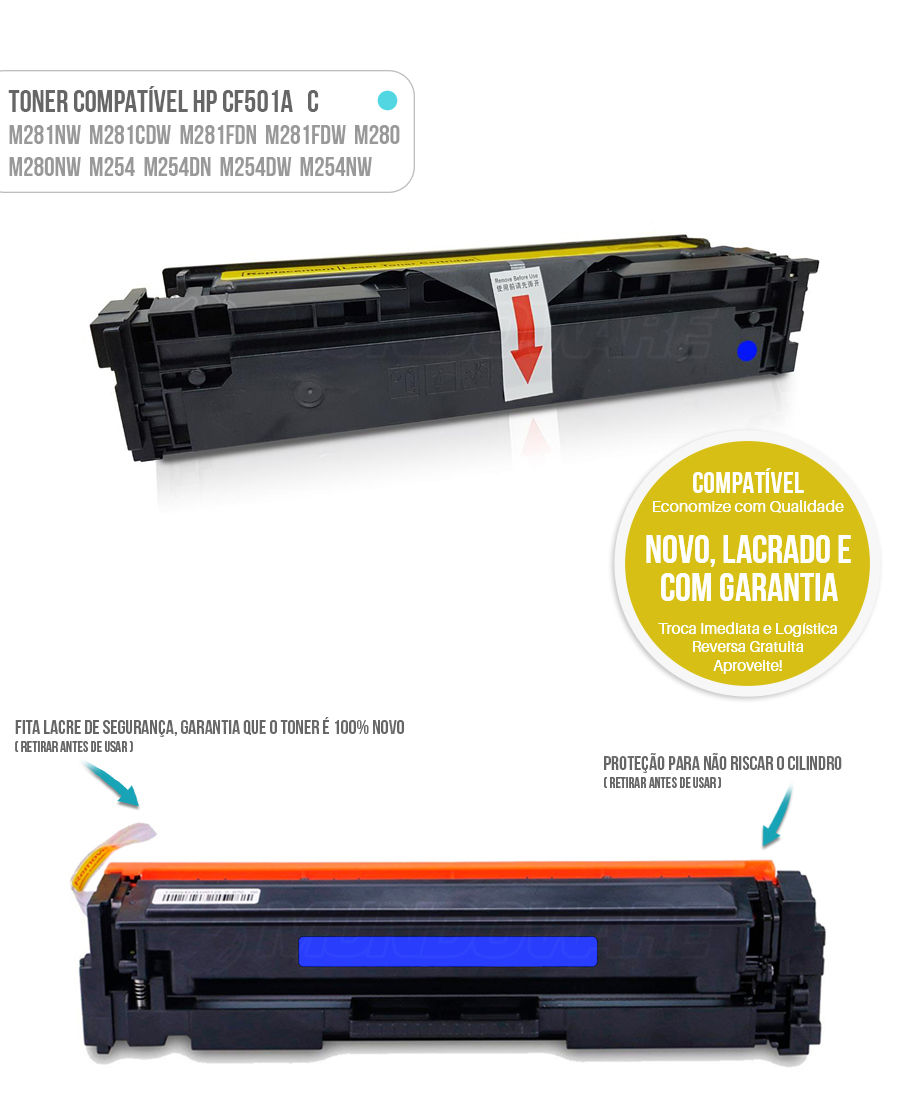 Toner Ciano compatível com CF501A 501A para impressora HP M281 M281nw M281cdw M281fdn M281fdw M280 M280nw M254 M254dn M254dw M254nw Tonner