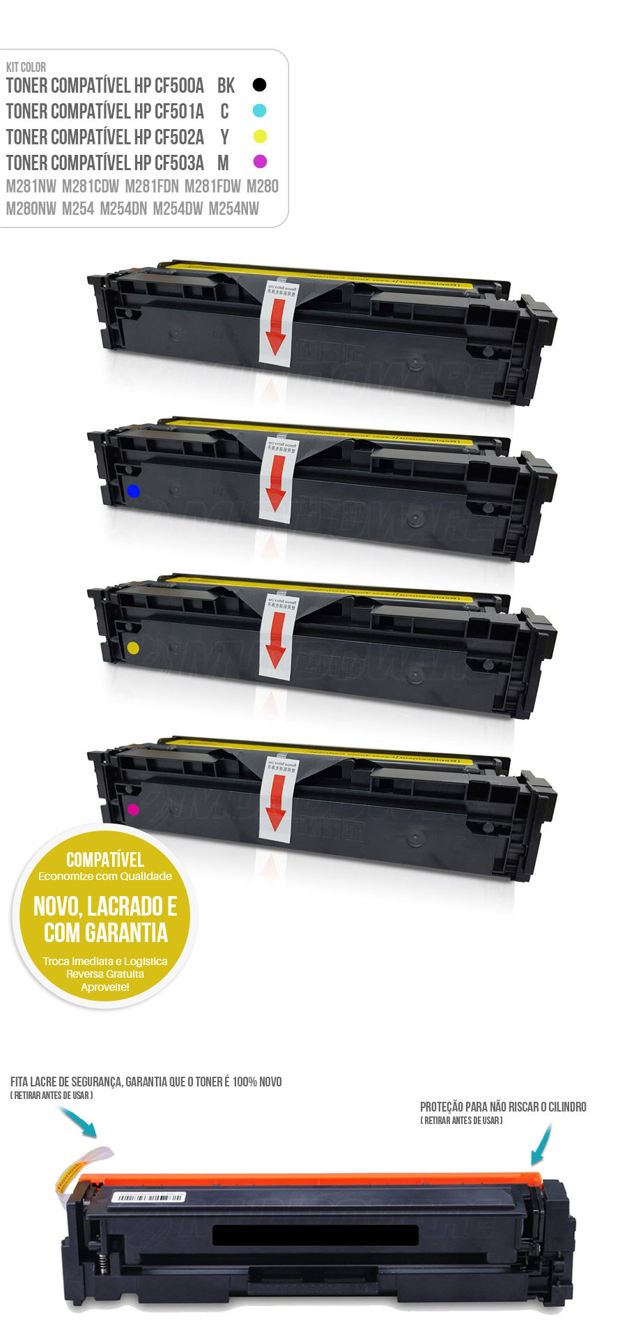 Kit Colorido de Toner compatível com CF500A 500A para impressora HP M281 M281nw M281cdw M281fdn M281fdw M280 M280nw M254 M254dn M254dw M254nw Tonner