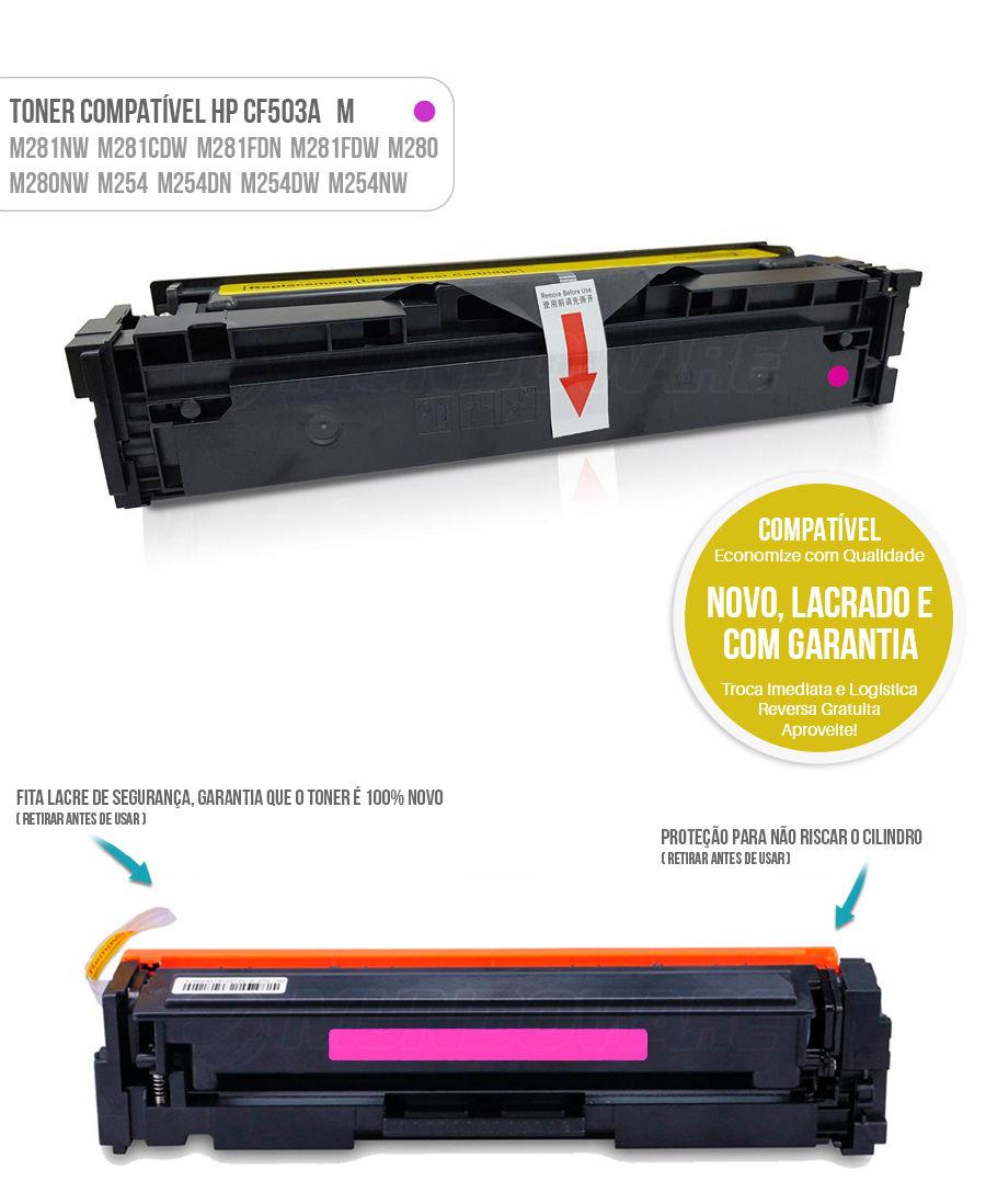 Toner Magenta compatível com CF503A 503A para impressora HP M281 M281nw M281cdw M281fdn M281fdw M280 M280nw M254 M254dn M254dw M254nw Tonner