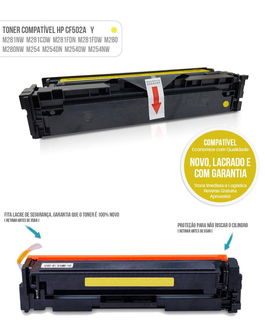 Toner Amarelo compatível com CF502A 502A para impressora HP M281 M281nw M281cdw M281fdn M281fdw M280 M280nw M254 M254dn M254dw M254nw Tonner