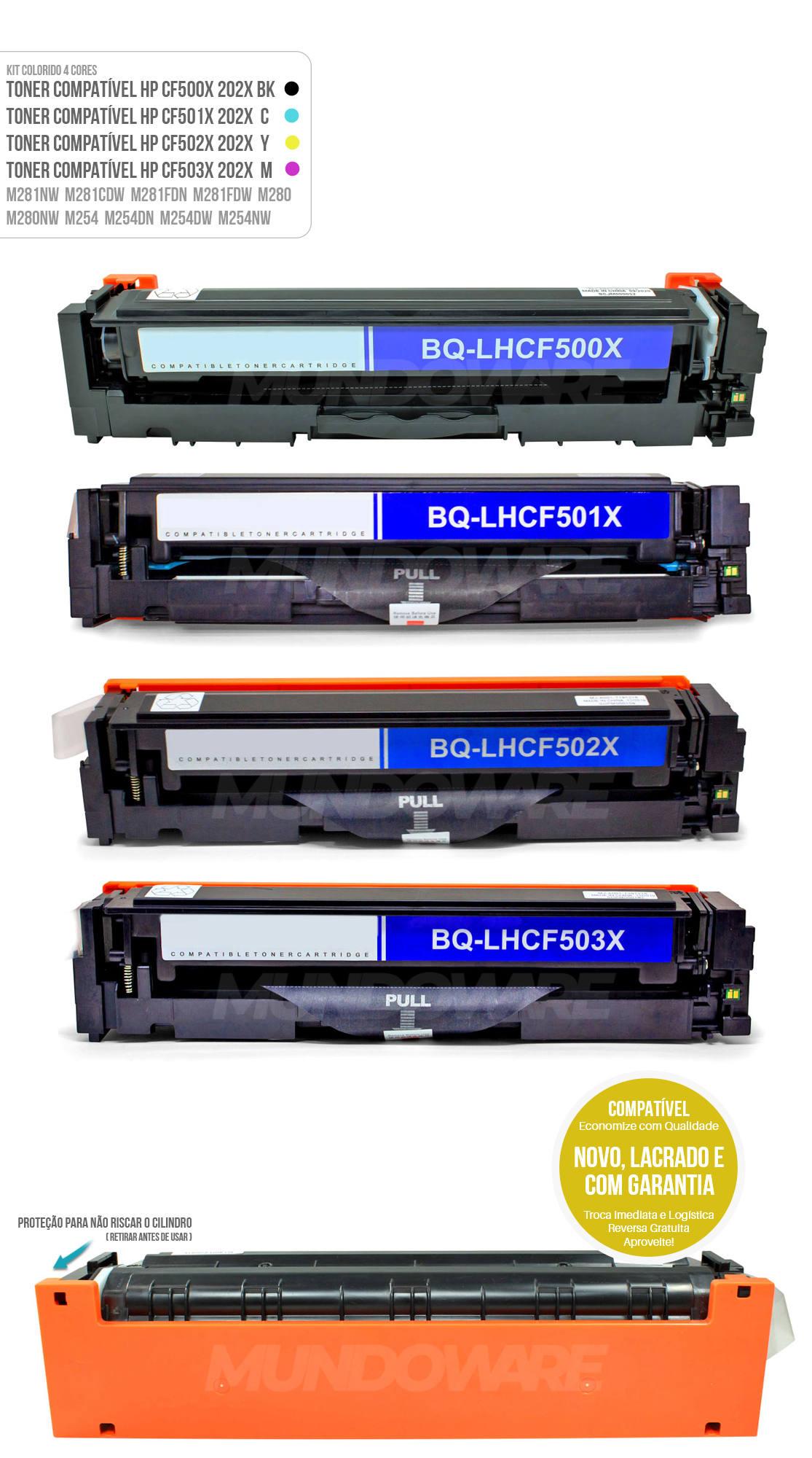 Kit Colorido de Toner compatível com CF500X CF501X CF502X CF503X 202X para impressora HP M281 M281nw M281cdw M281fdn M281fdw M280 M280nw M254 M254dn M254dw M254nw Tonner