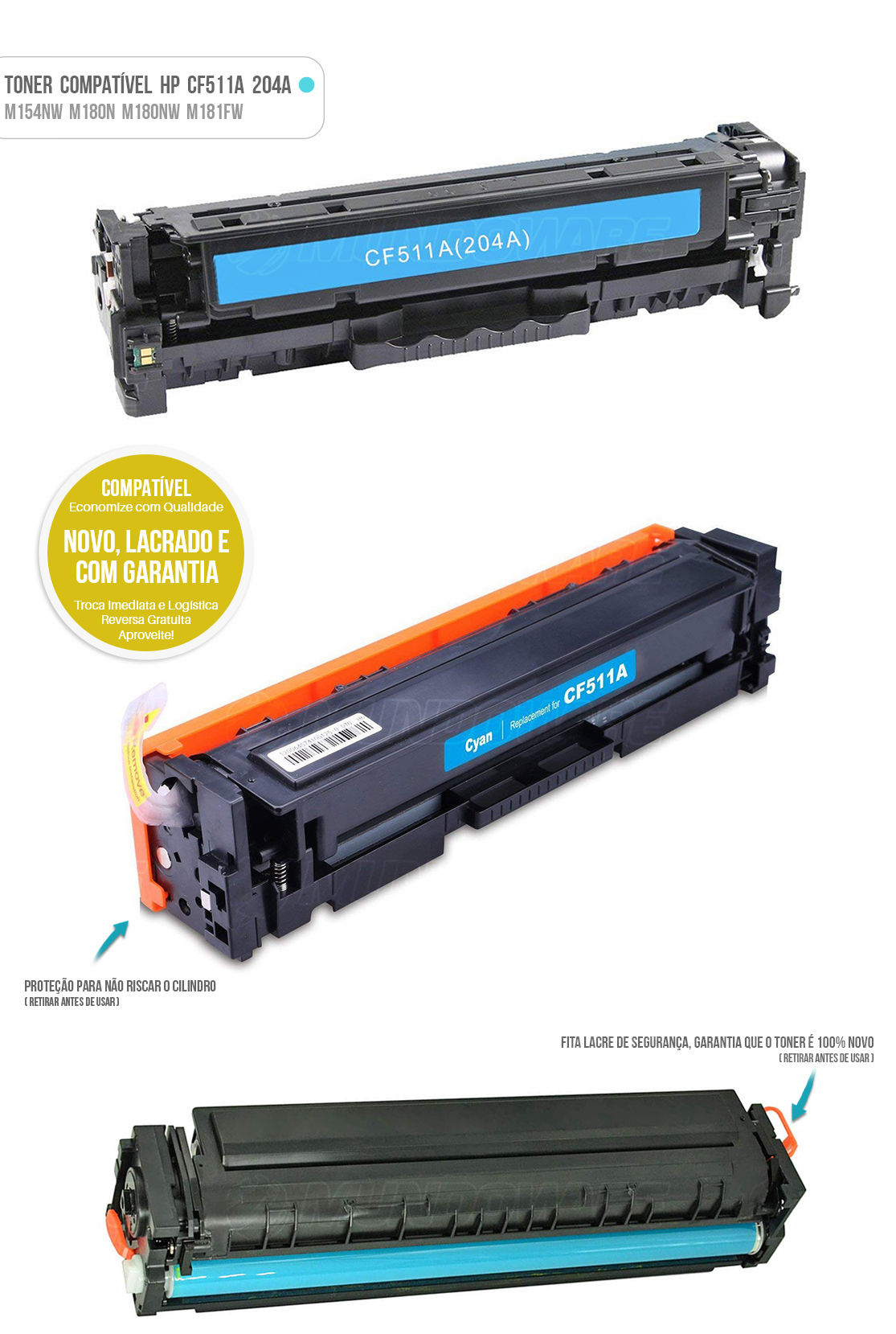 Toner para impressora Laser M154 M154A M154NW M180 M180N M180NW M181 M181FW Tonner Ciano