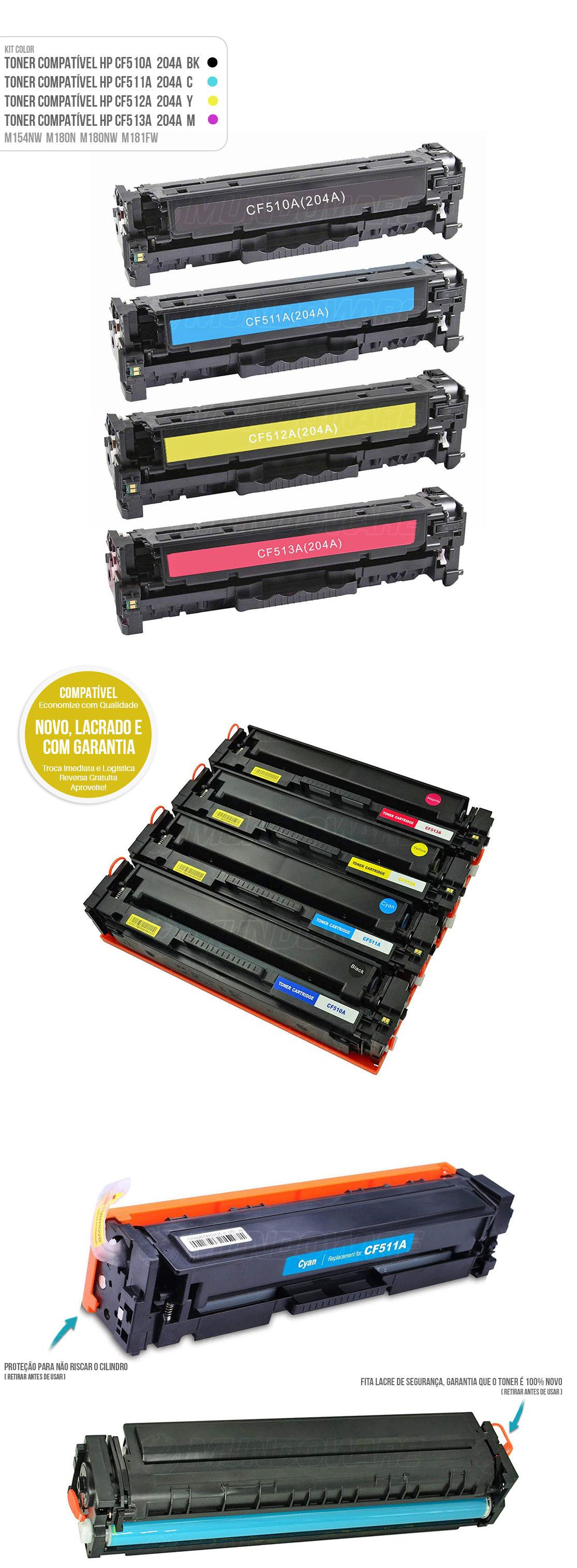 Kit Colorido de Toner para impressora Laser M154 M154A M154NW M180 M180N M180NW M181 M181FW Tonner Preto Ciano Amarelo Magenta 4 cores