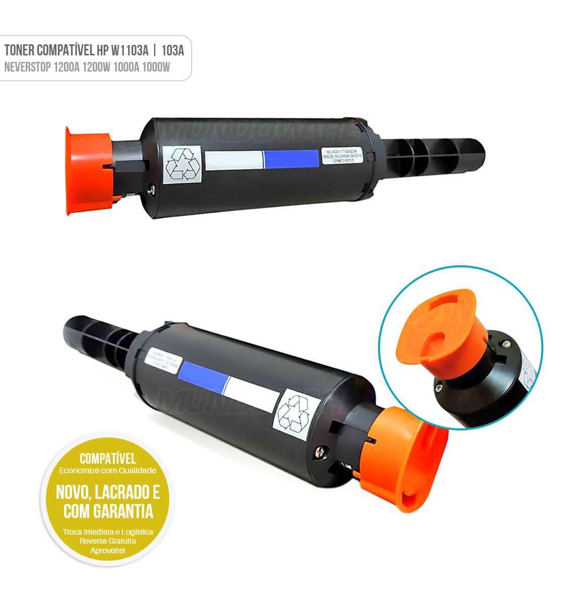 Toner Compatível modelo 103A W1103A para Impressora HP Neverstop 1200A 1200W 1000A 1000W Preto 2.500 Tonner