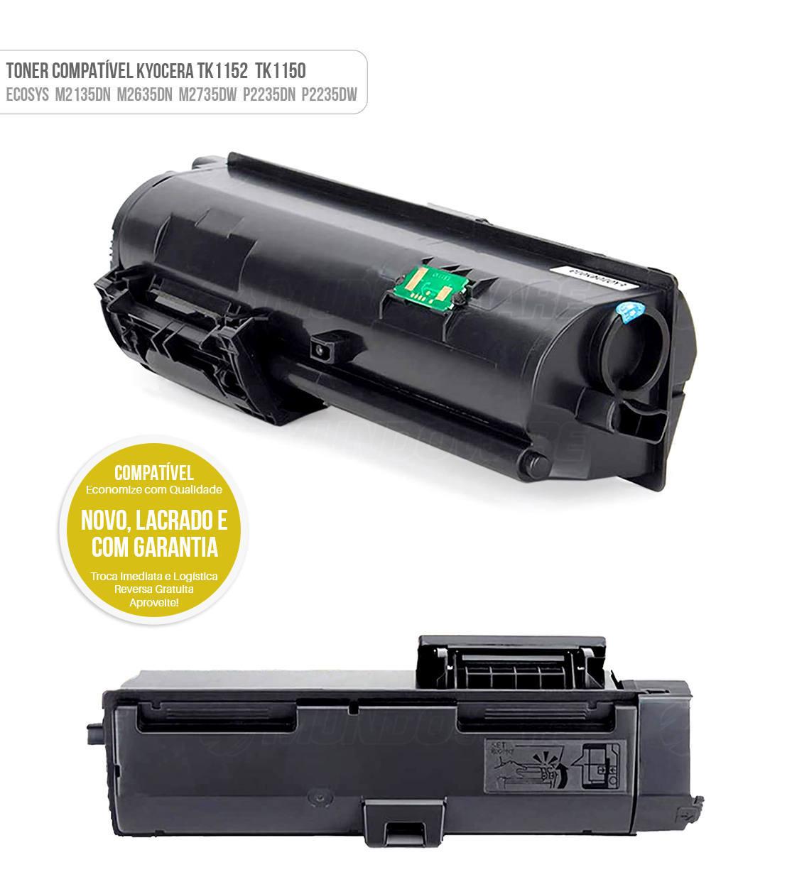 Toner Compatível para Kyocera TK-1150 TK-1152 Tonner TK1150 TK1152 para M2135dn M2635dn M2735dw P2235dn P2235dw