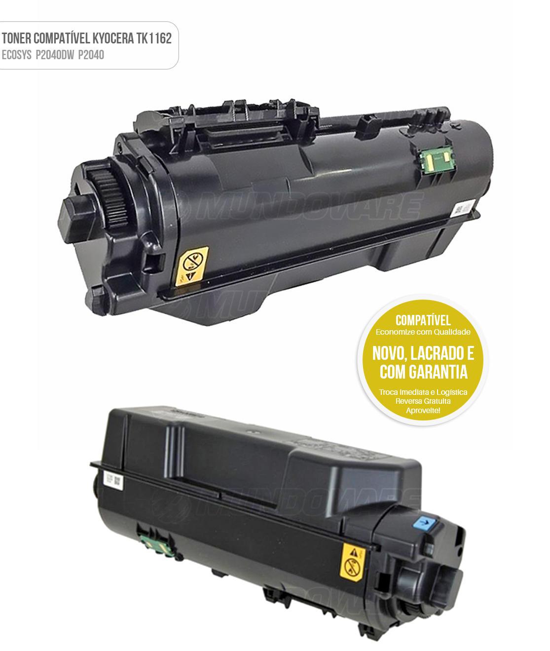 Toner Compatível TK1162 TK-1162 para Impressora Kyocera Ecosys P2040dw P2040 Tonner