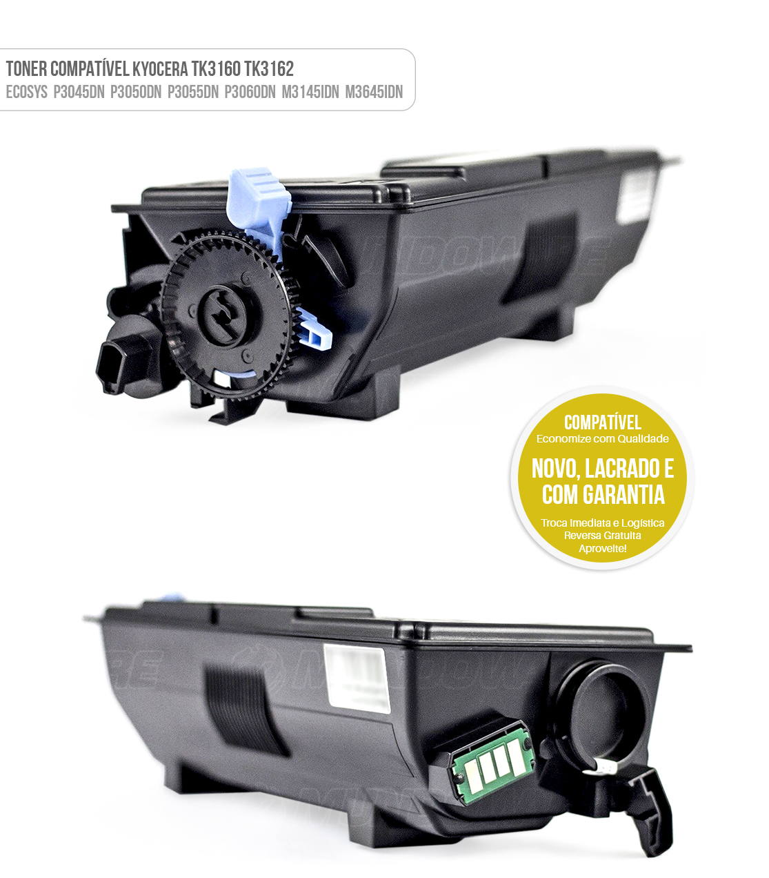 Toner TK3160 TK3162 para Impressora Kyocera P3045DN P3050DN P3055DN P3060DN M3145IDN M3645IDN Tonner Preto
