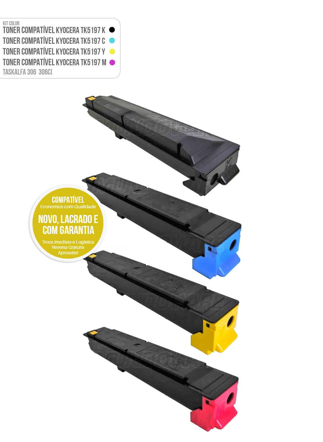 Kit 4 Cores de Toner Compatível para impressora Kyocera TASKalfa 306ci 306