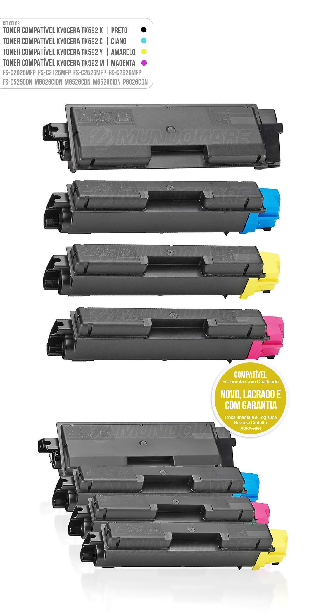 Kit 4 Cores de Toner Compatível TK592 para impressora Kyocera FSC2026MFP FSC2126MFP FSC2126MFP+ FSC2526MFP FSC2626MFP FSC5250DN FS-C2026 FS-C2126 FS-C2526 FS-C2626 FS-C5250 M6026 M6526 P6026