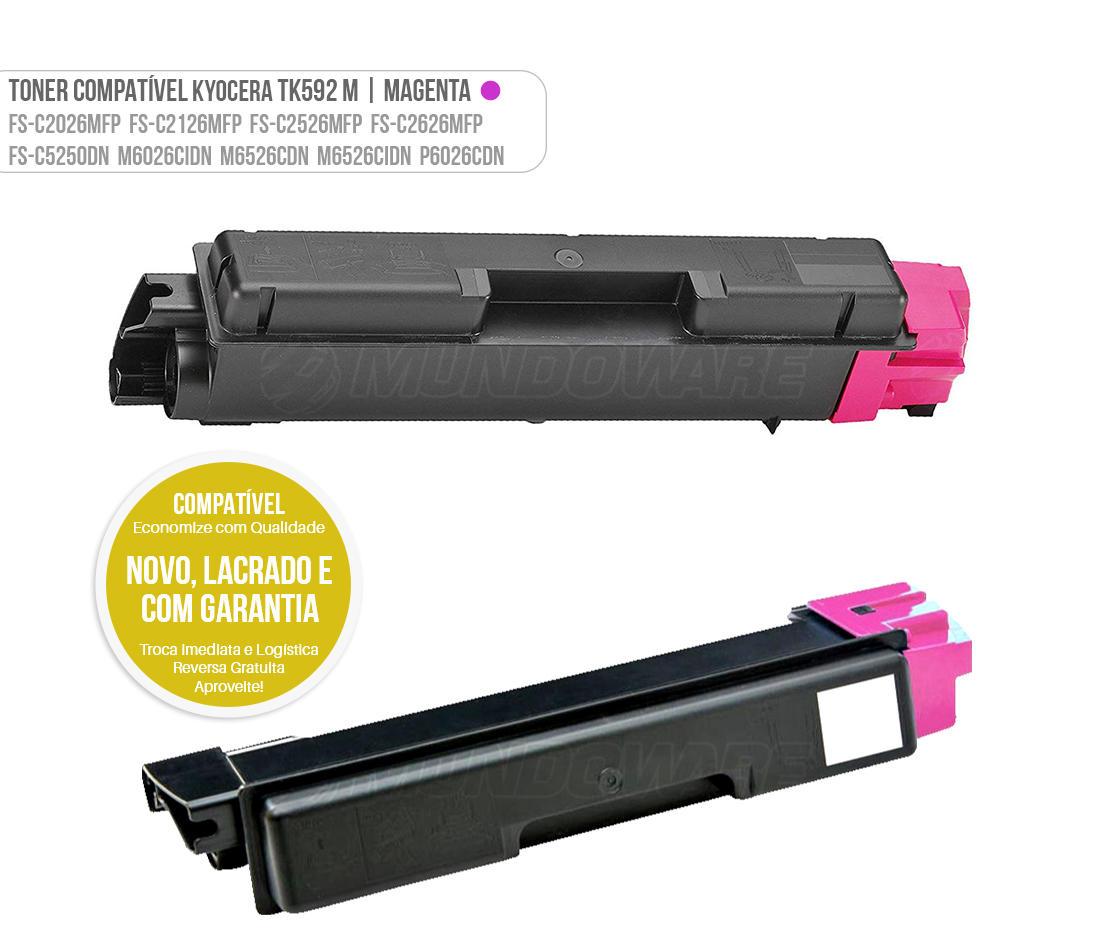 Toner Magenta Compatível TK592 para impressora Kyocera FSC2026MFP FSC2126MFP FSC2126MFP+ FSC2526MFP FSC2626MFP FSC5250DN FS-C2026 FS-C2126 FS-C2526 FS-C2626 FS-C5250 M6026 M6526 P6026 Tonner