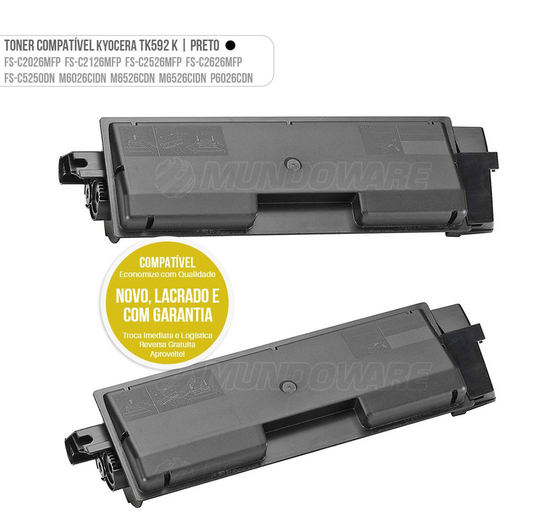 Toner Preto Compatível TK592 para impressora Kyocera FSC2026MFP FSC2126MFP FSC2126MFP+ FSC2526MFP FSC2626MFP FSC5250DN FS-C2026 FS-C2126 FS-C2526 FS-C2626 FS-C5250 M6026 M6526 P6026 Tonner