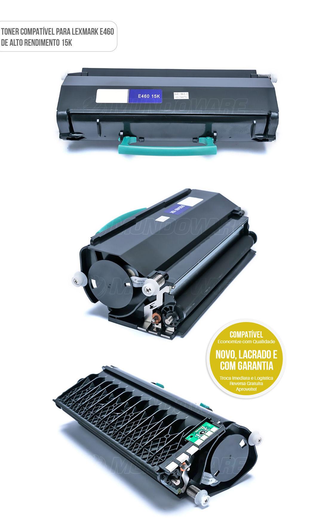 Toner compatível para impressora lexmark modelo E460 E460D E460DN E-460 E-460D E-460DN de alto rendimento 15.000 impressões