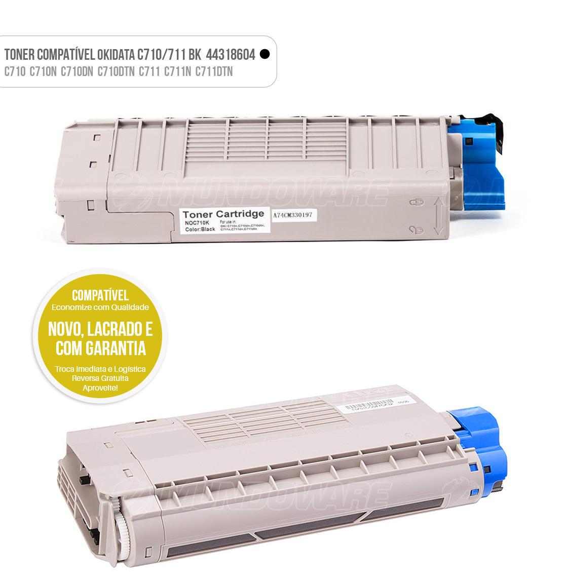 Toner Preto Compatível para impressora Okidata C710 C710N C710DN C710DTN C711 C711N C711DTN Tonner