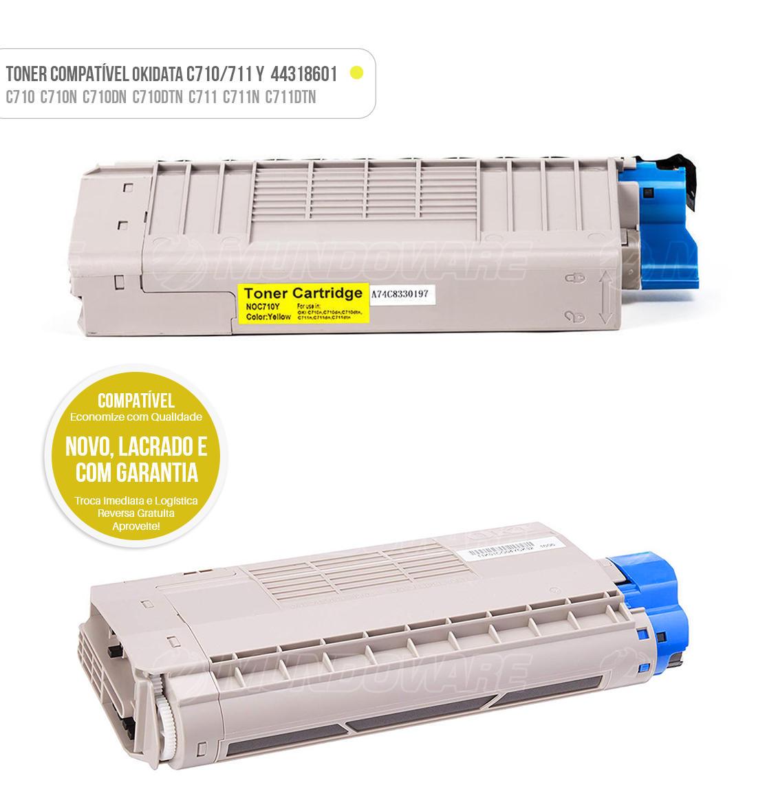 Toner Amarelo Compatível para impressora Okidata C710 C710N C710DN C710DTN C711 C711N C711DTN Tonner