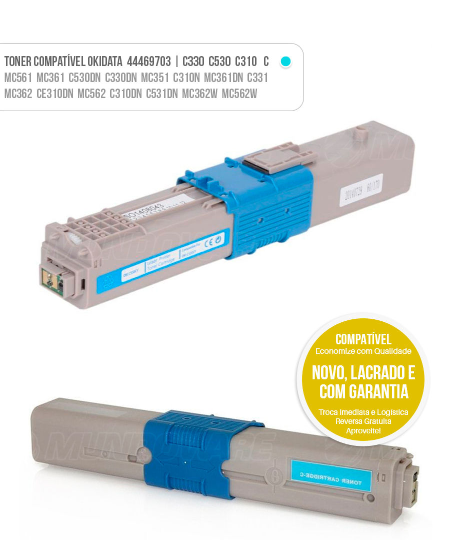 tonner compatível Okidata C530 C330 C310 Toner Oki Ciano Azul Cyan