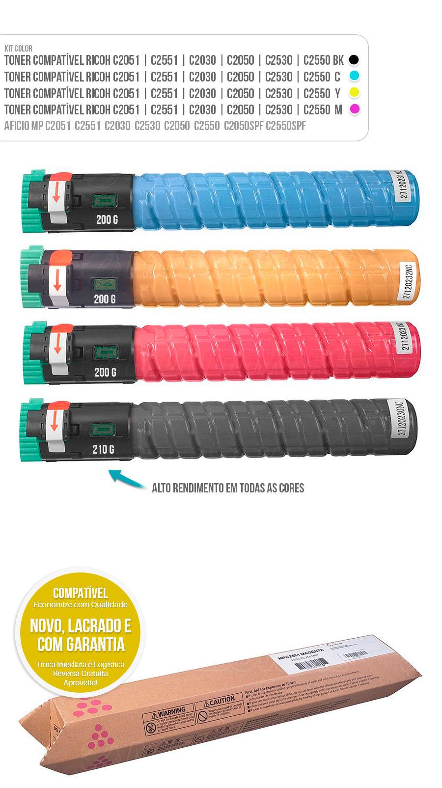 MPC2051 MPC2551 MPC2030 MPC2530 MPC2050 MPC2550 MPC2050SFP MPC2550SPF Tonner Kit Colorido