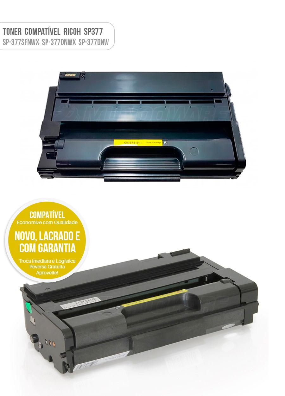 Tonner Compativel para impressora Ricoh Aficio SP377 SP377sfnwx SP377Sfnw X SP377fnwx SP377dnwx SP377dnw SP377dnw X Toner
