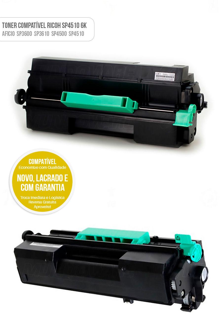 Toner Compatível Ricoh SP3600 SP3610 SP4500 SP4510 SP-3600 SP-3610 SP-4500 SP-4510 Tonner