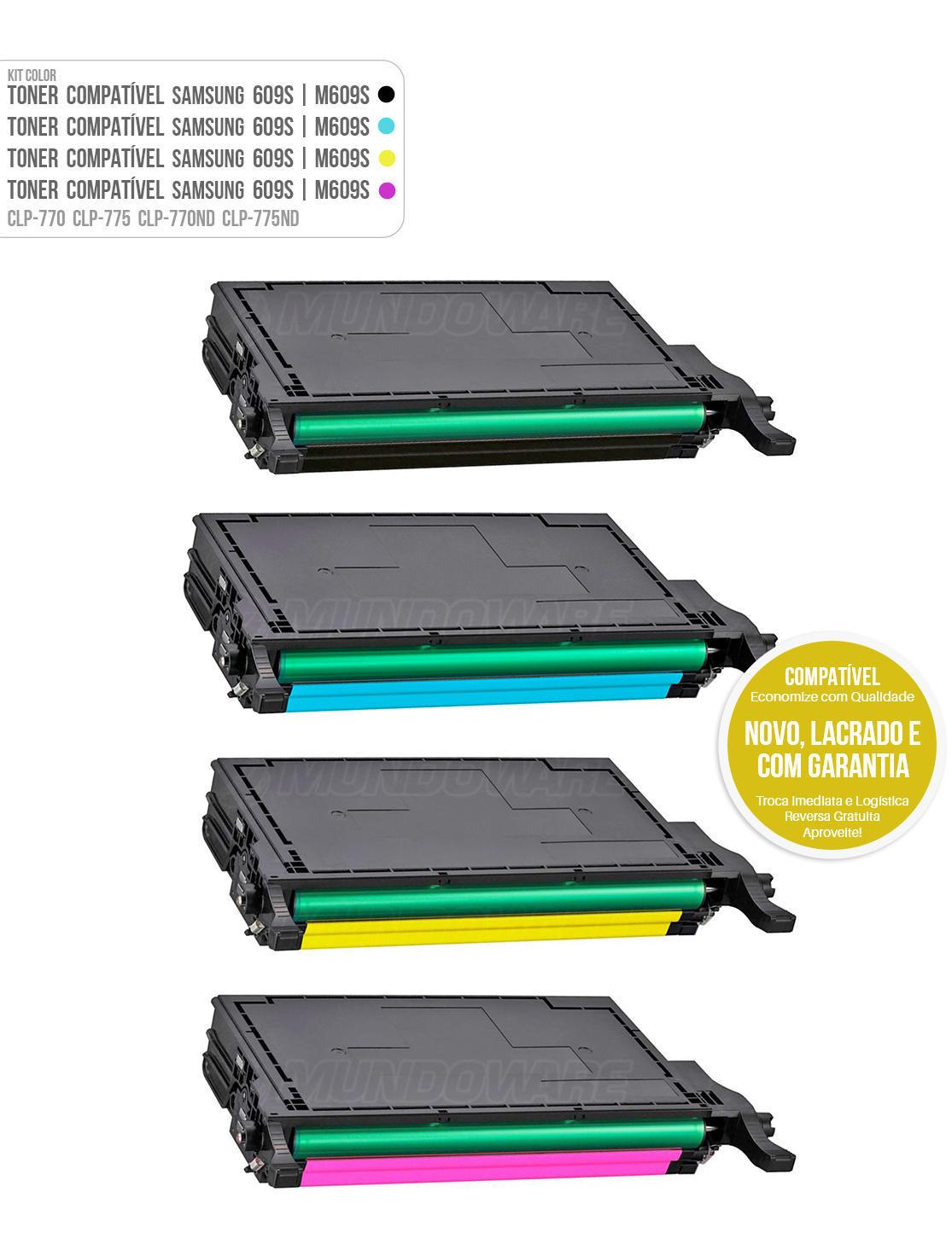 Kit 4 Cores de Toner Compatível com 609S para impressora Samsung CLP-770 CLP-775 CLP-770ND CLP-775ND CLP770 CLP775 CLP770ND CLP775ND