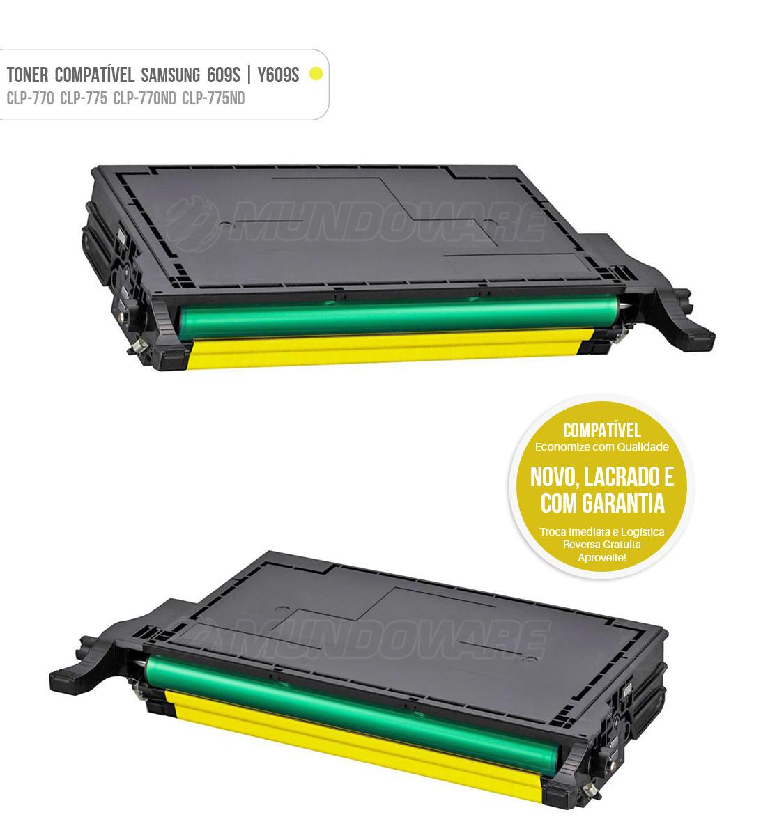Toner Amarelo Compatível com CLT609 Y609S 609S para impressora Samsung CLP-770 CLP-775 CLP-770ND CLP-775ND CLP770 CLP775 CLP770ND CLP775ND Tonner
