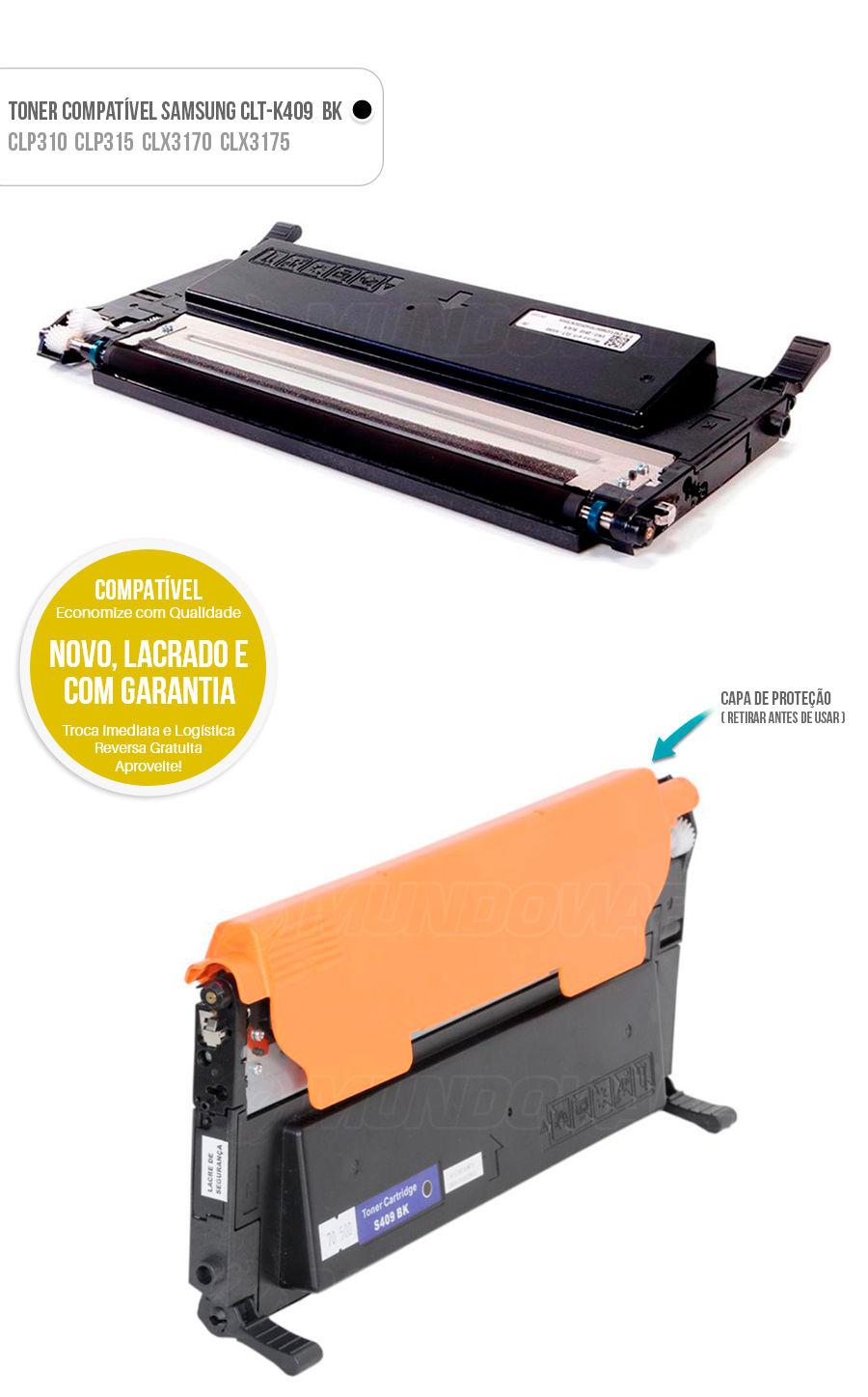 Toner compativel para impressora Samsung CLT-B409S K409S CLTK409S CLTK409 Preto