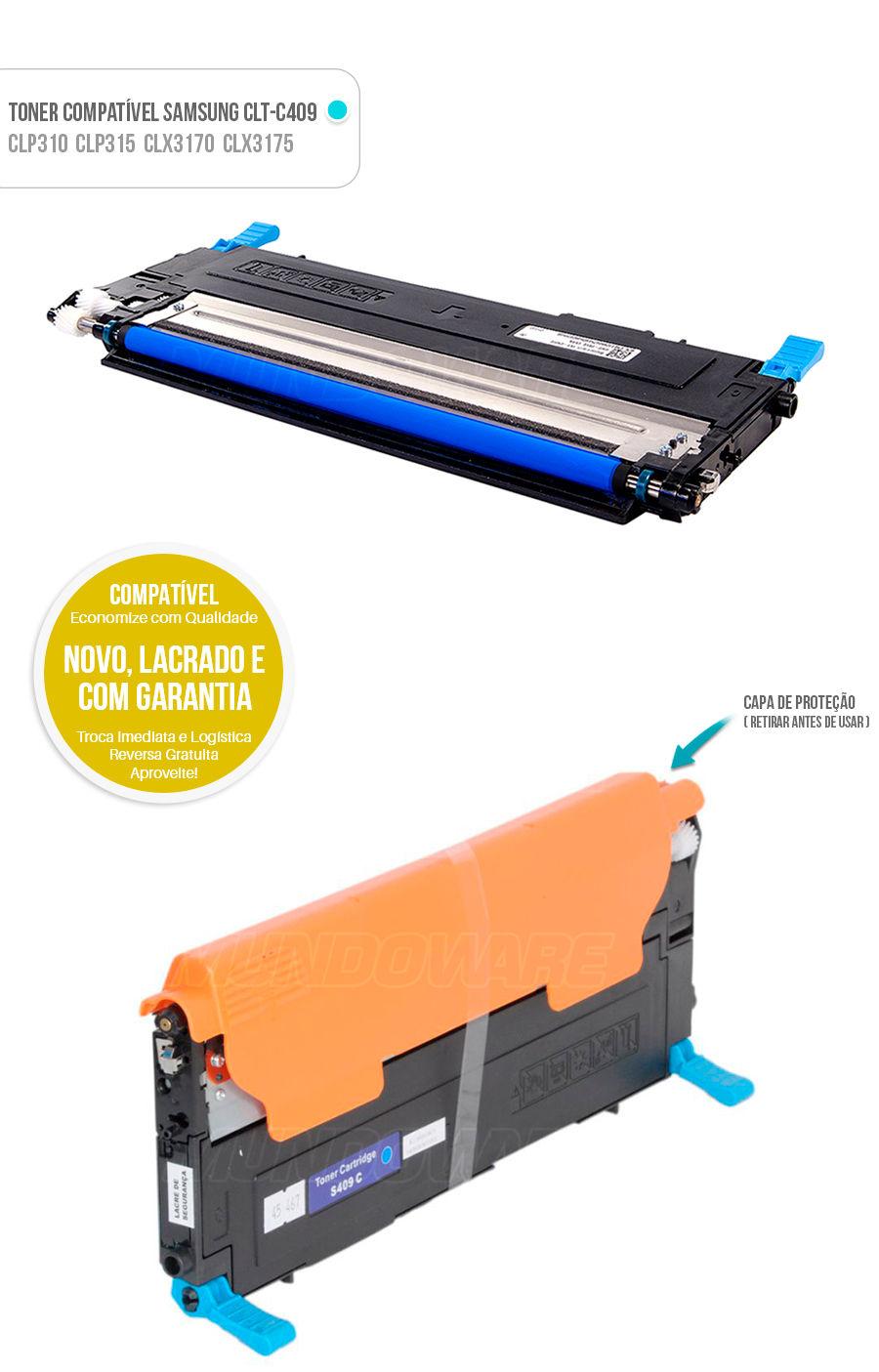 Toner compativel para impressora Samsung CLT-C409S C409S CLTC409S CLTC409 C409 Ciano Azul