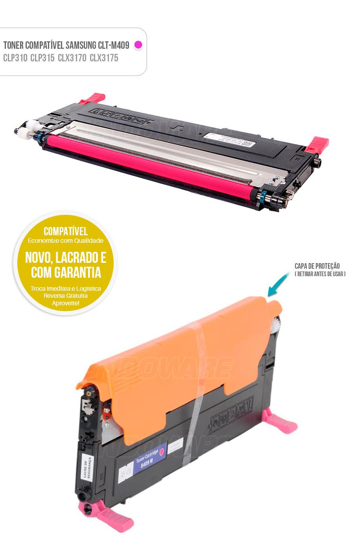 Toner compativel para impressora Samsung CLT-M409S M409S CLTM409S CLTM409 M409 Magenta Vermelho Rosa