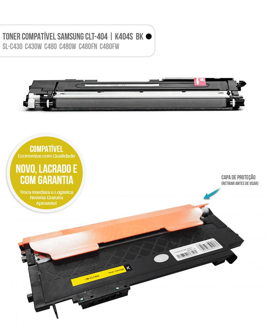 Toner Preto para SL-C430 SL-C430W SL-C480 SL-C480W SL-C480FN SL-C480FW Tonner CLT404 404S