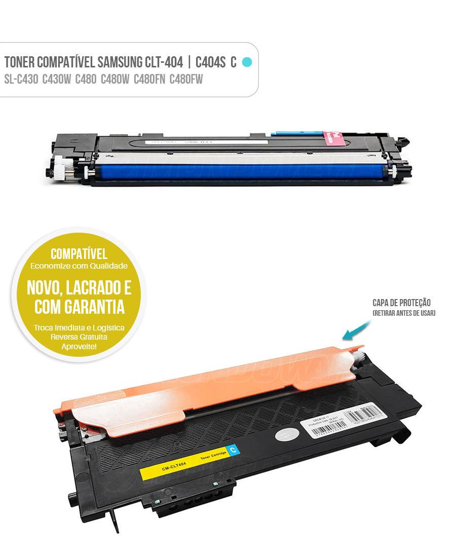 Toner Ciano para SL-C430 SL-C430W SL-C480 SL-C480W SL-C480FN SL-C480FW Tonner CLT404 404S