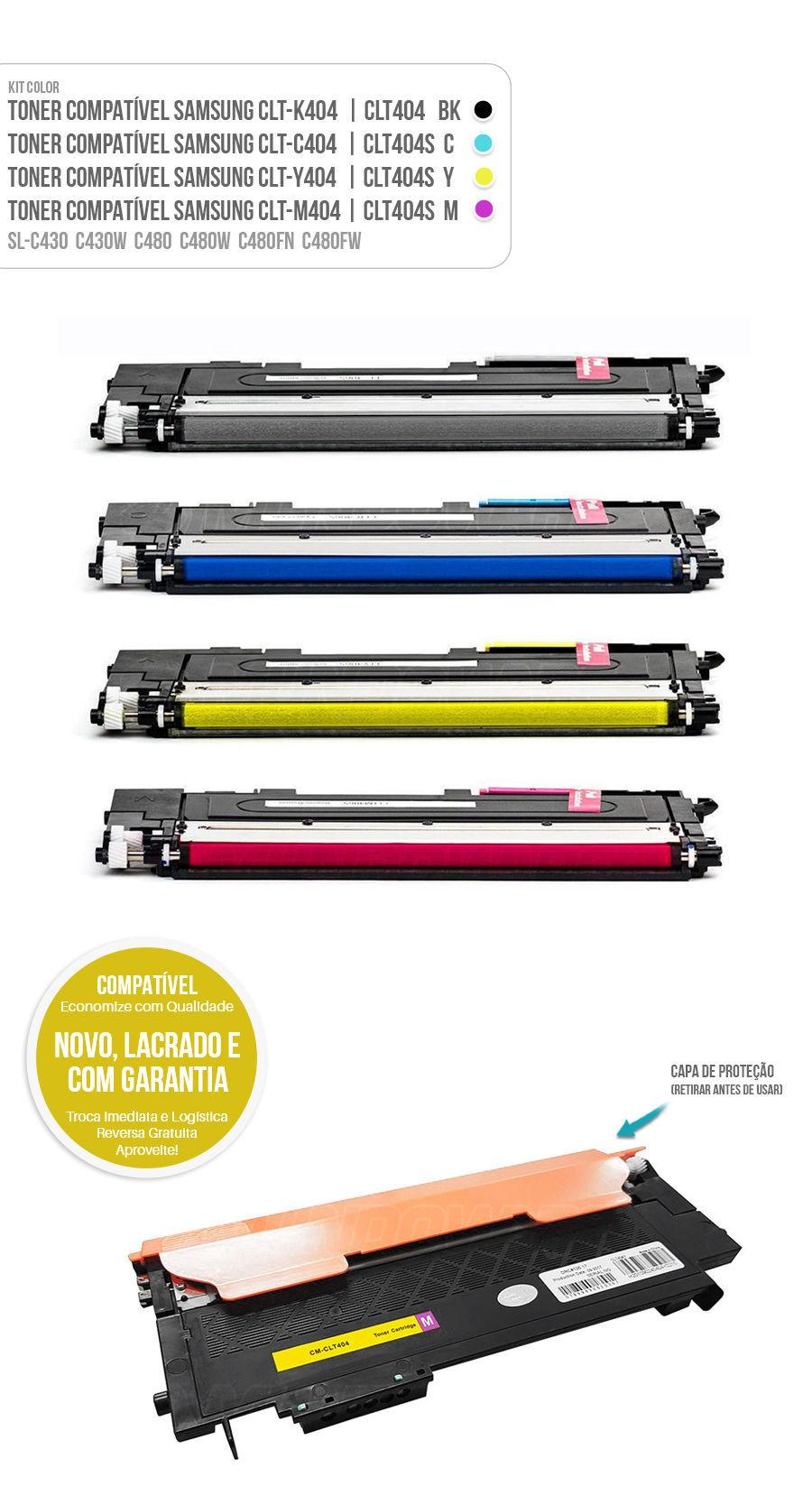 Kit Colorido de Toner para SL-C430 SL-C430W SL-C480 SL-C480W SL-C480FN SL-C480FW Tonner CLT404 404S