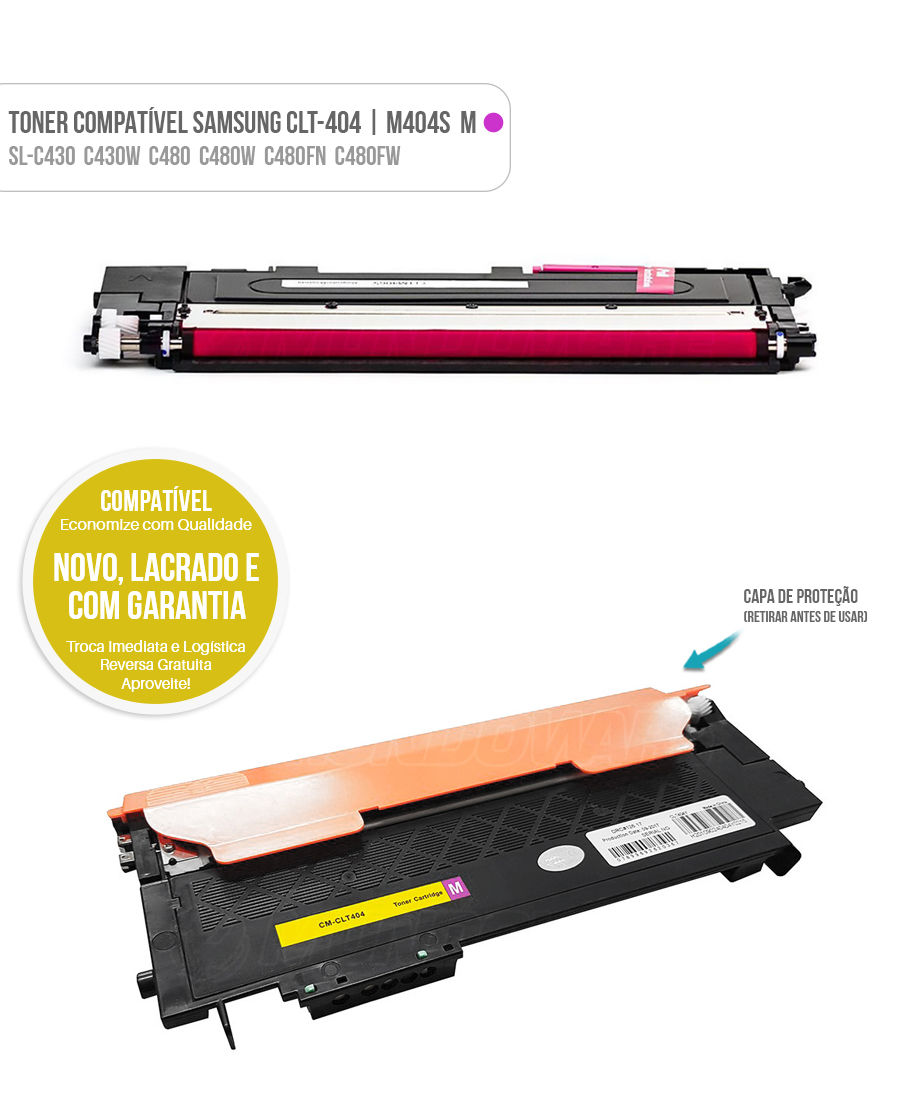 Toner Magenta para SL-C430 SL-C430W SL-C480 SL-C480W SL-C480FN SL-C480FW Tonner CLT404 404S