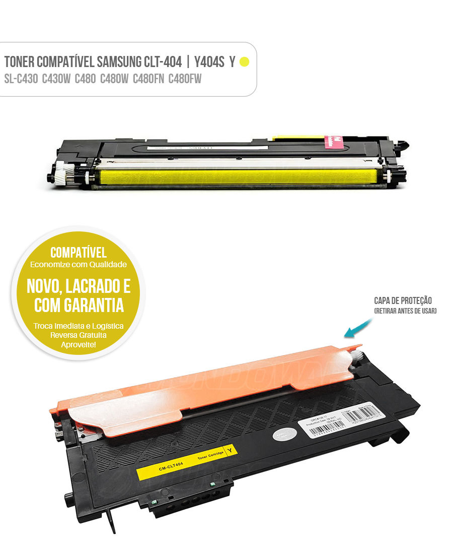 Toner Amarelo para SL-C430 SL-C430W SL-C480 SL-C480W SL-C480FN SL-C480FW Tonner CLT404 404S