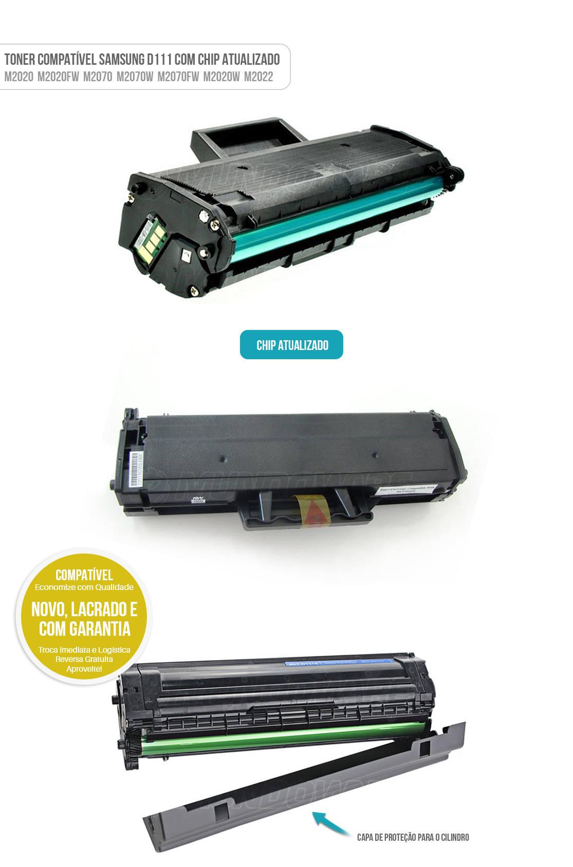 Toner D111S D111E D111 com Chip Atualizado para Xpress M2020 M2020W M2020FW M2022 M2070 M2070W M2070FW Tonner