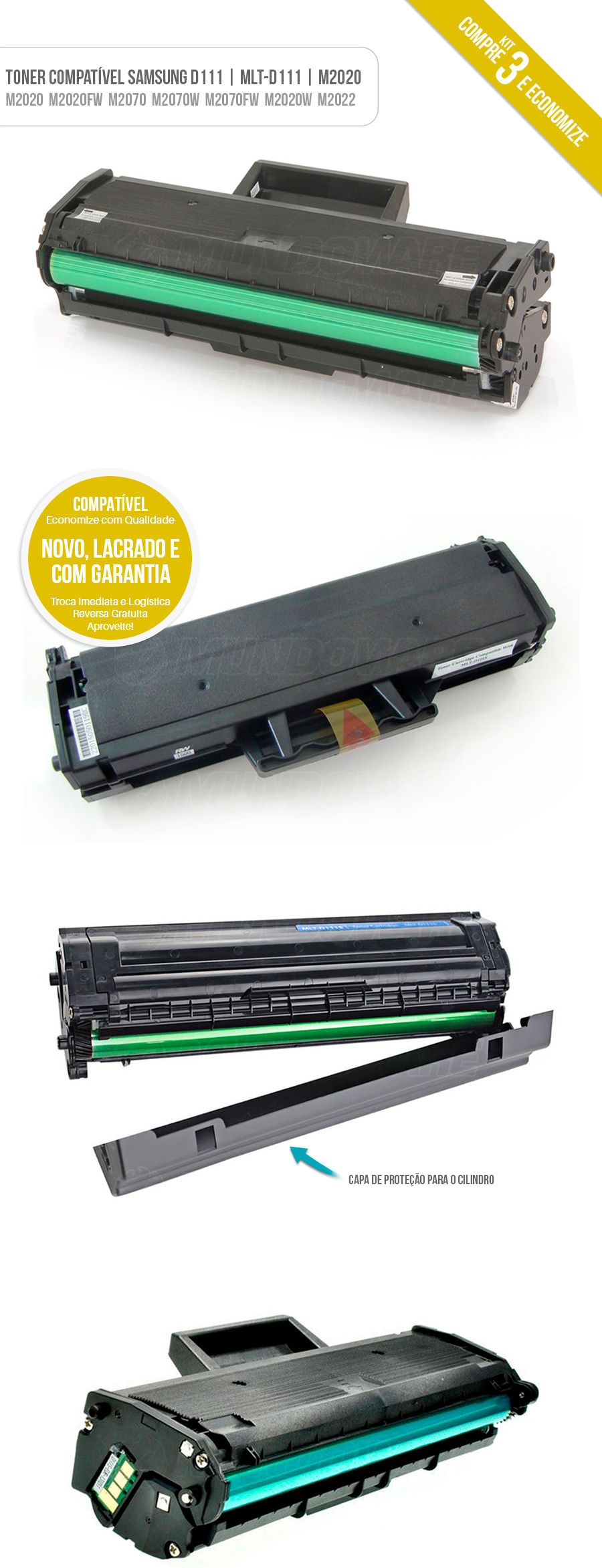Kit 3 Toner para impressora Xpress M2020 M2020W M2020FW M2022 M2070 M2070W M2070FW Tonner