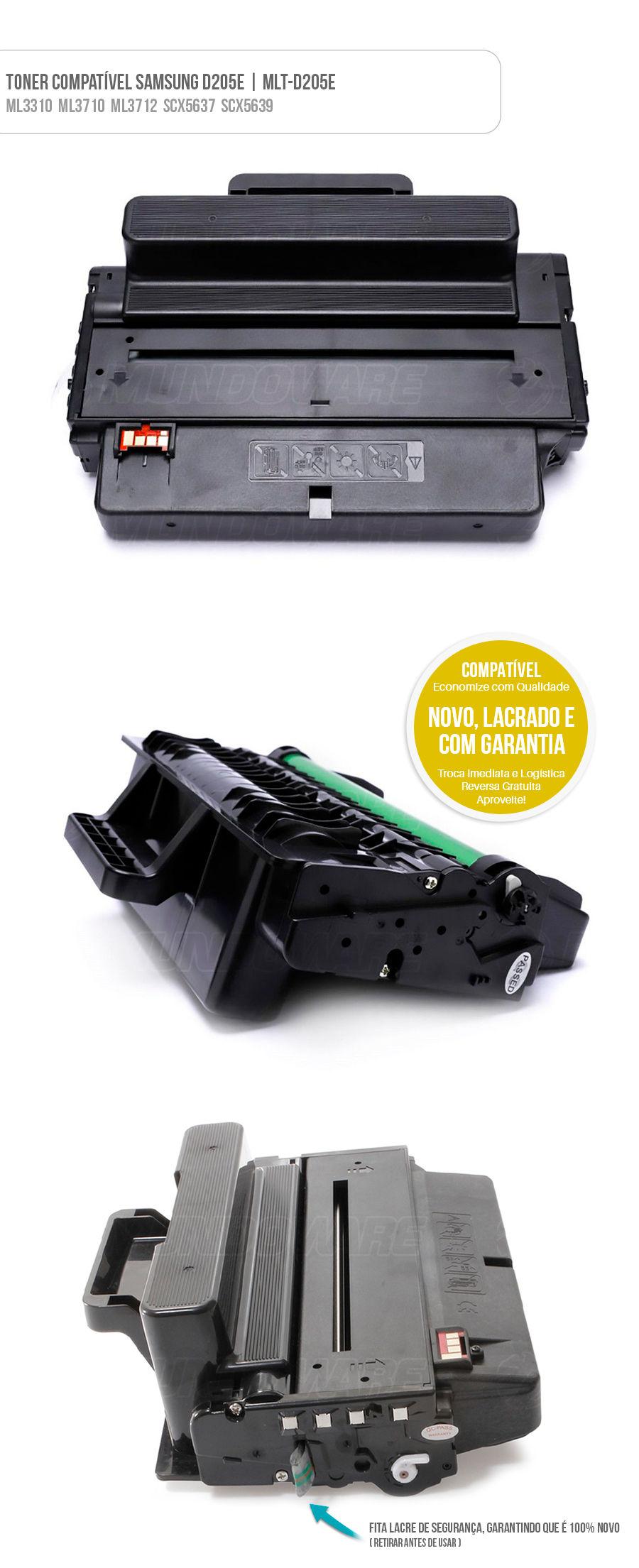 Cartucho de Toner Compatível Samsung para ML3310 ML3710 SCX5637 Tonner D205E 205E