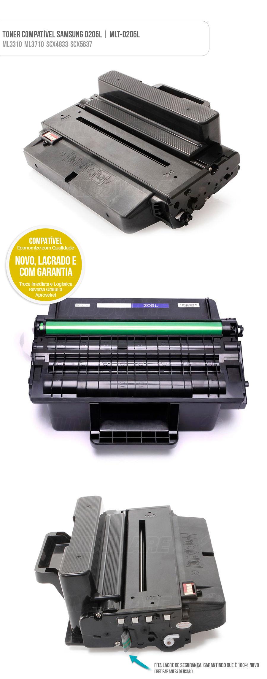 Cartucho de Toner Compatível Samsung para ML3310 ML3710 SCX4833 SCX5637 Tonner D205L D205