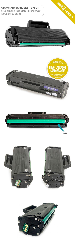ML-2160 ML-2161 ML-2165 SCX-3400 SCX-3401 SCX-3405 SF-760 Tonner Kit com 3 unidades