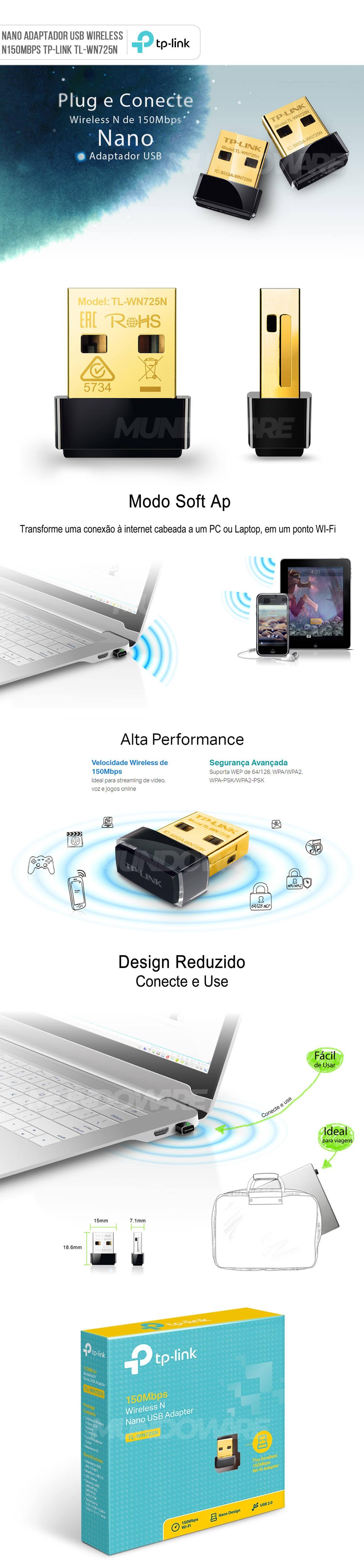 Nano Adaptador USB Wireless N150Mbps TP-Link TL-WN725N