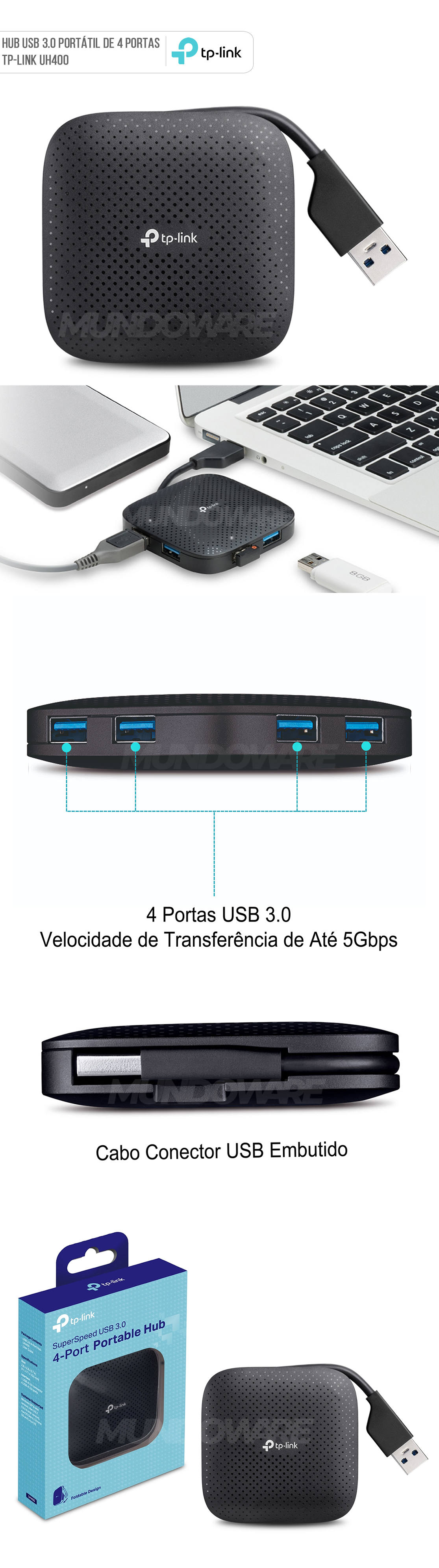Hub USB 3.0 Portátil de 4 Portas USB TP-Link UH400