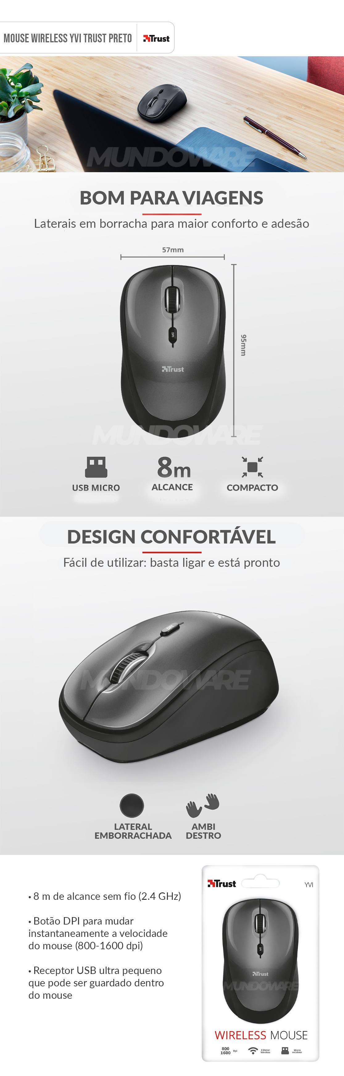 Mouse Wireless Compacto com Botão Seletor de DPI e Nano Receptor USB Trust Yvi Cinza