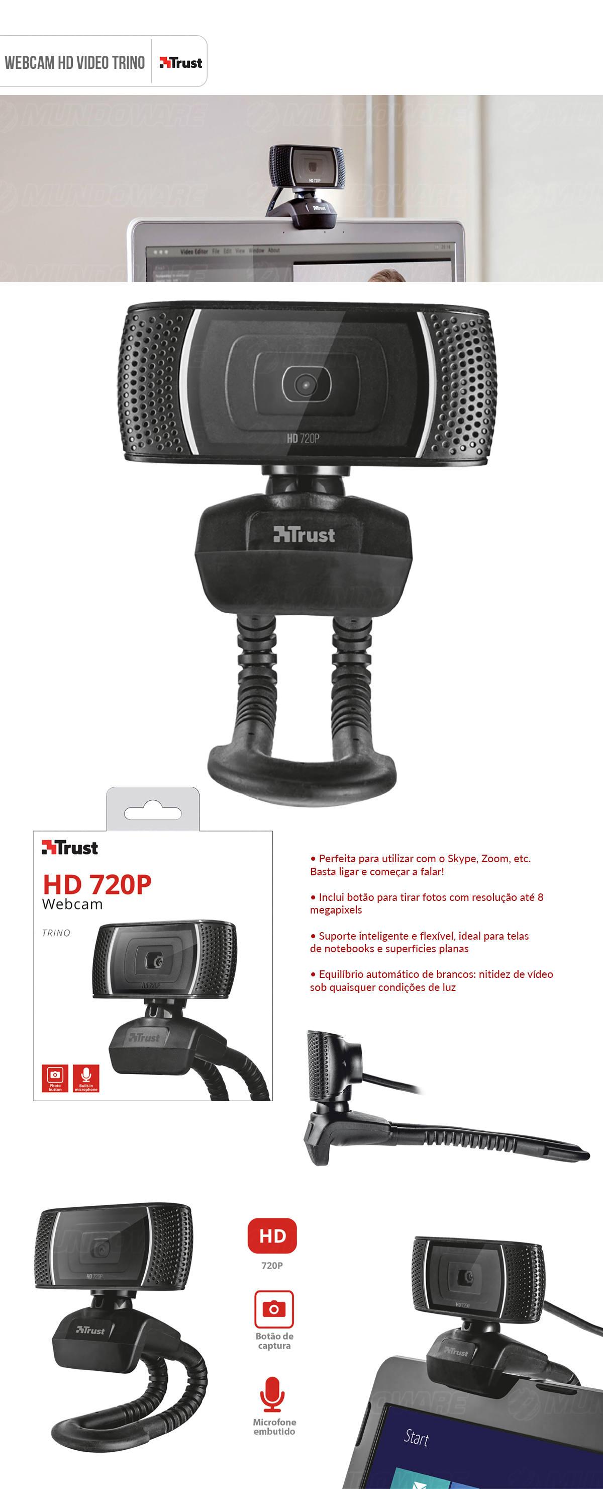 Webcam HD Video 720p 30fps 8MP com Microfone Integrado e Suporte Inteligente Flexíval Trust Trino