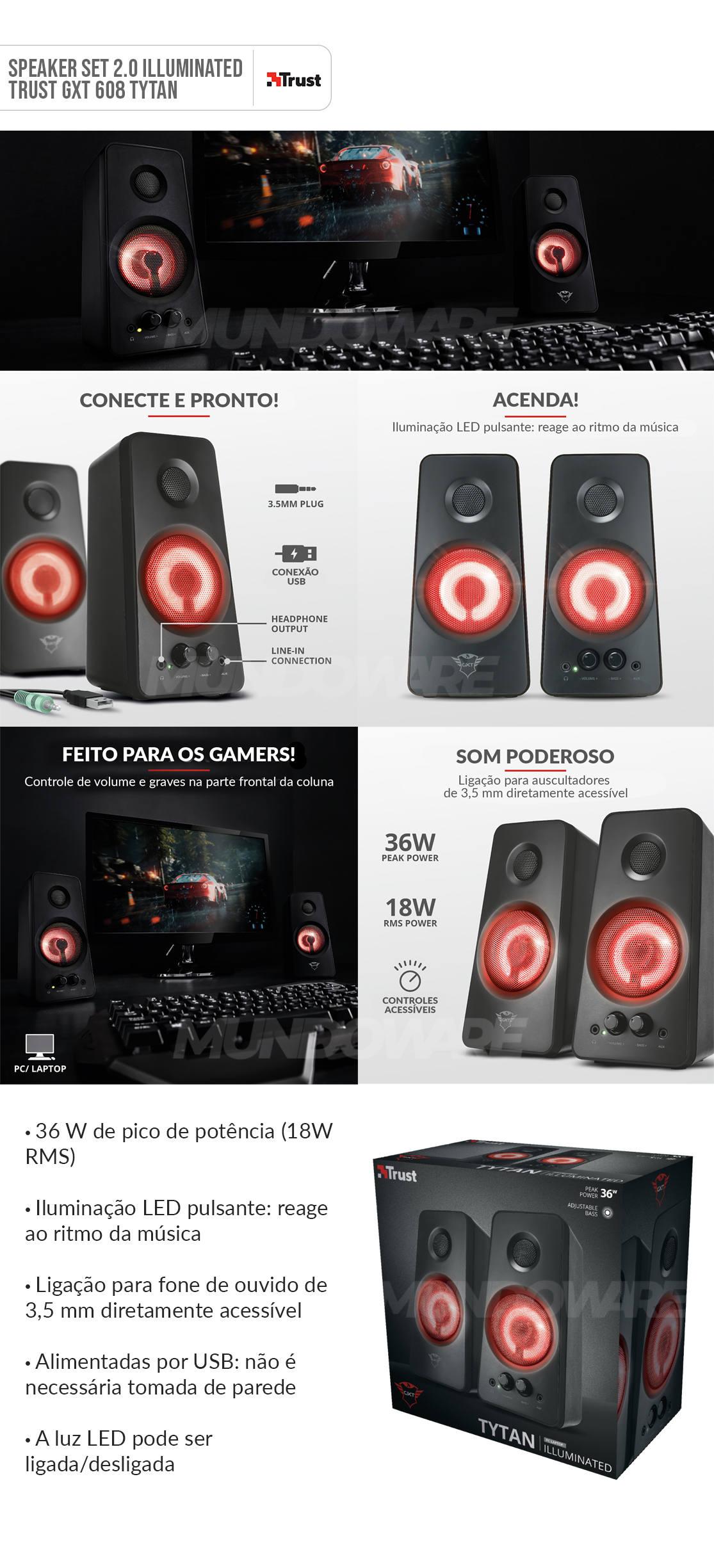 Caixa de Som 2.0 18W RMS Iluminação LED Pulsante Reage ao Ritmo da Música Trust GXT 608 Tytan Speaker Set
