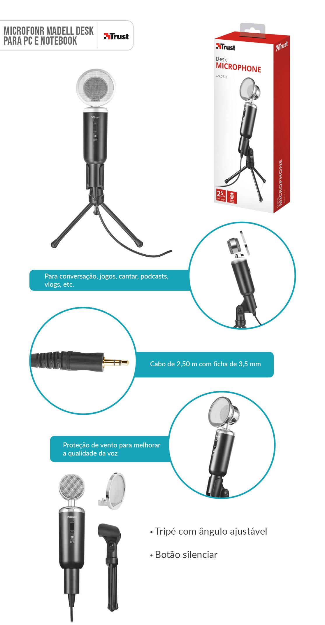 Microfone para PC e Notebook de Alto Desempenho com Tripé Trust Madell