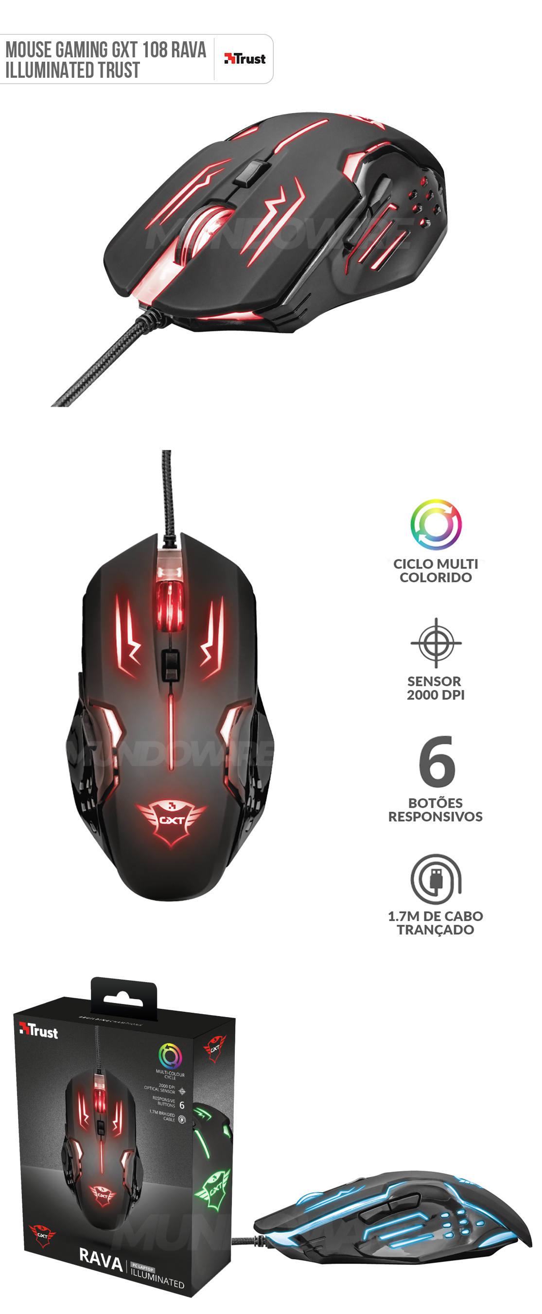 Mouse Gamer GXT 108 Rava Illuminated Gaming 6 Botões Seletor de DPI até 2000 Trust