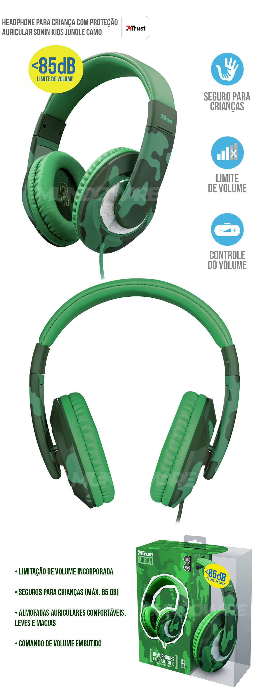 Fone de Ouvido Para Crianças Com Limitador de Volume até 85DB e Proteção Auricular Trust Sonin Kids Jungle/Camo