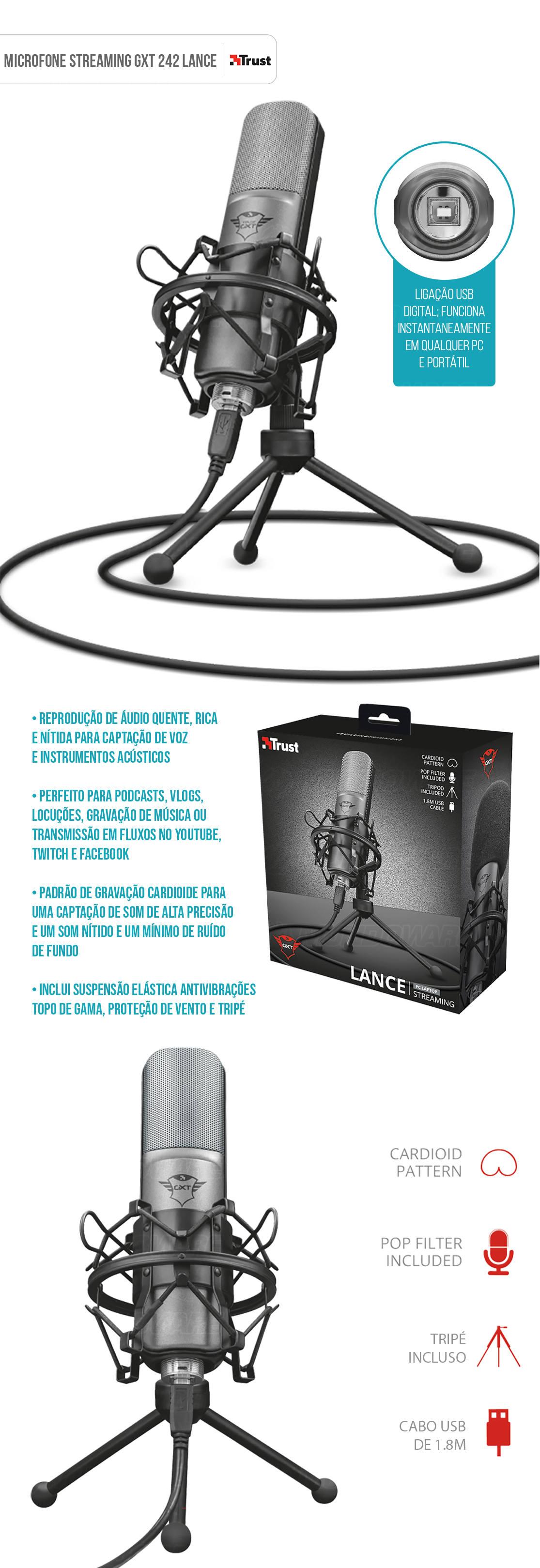 Microfone Streaming GXT 242 Lance Padrão Cardioide Unidirecional com Tripé Filtro Pop Montagem de Choque e Antivibrações