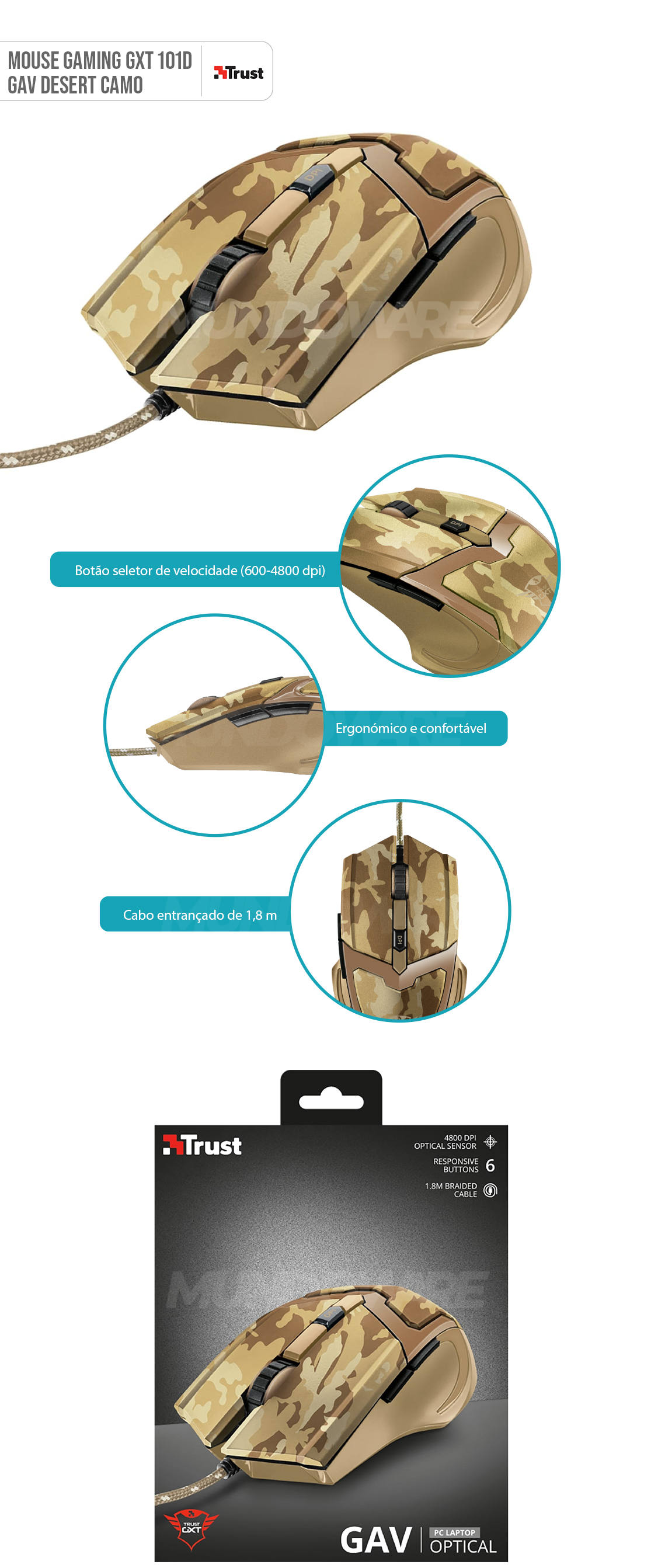 Mouse Gamer com Fio 4800 DPI Precisão para Jogos 6 Botões Trust GXT 101D GAV Desert Camo