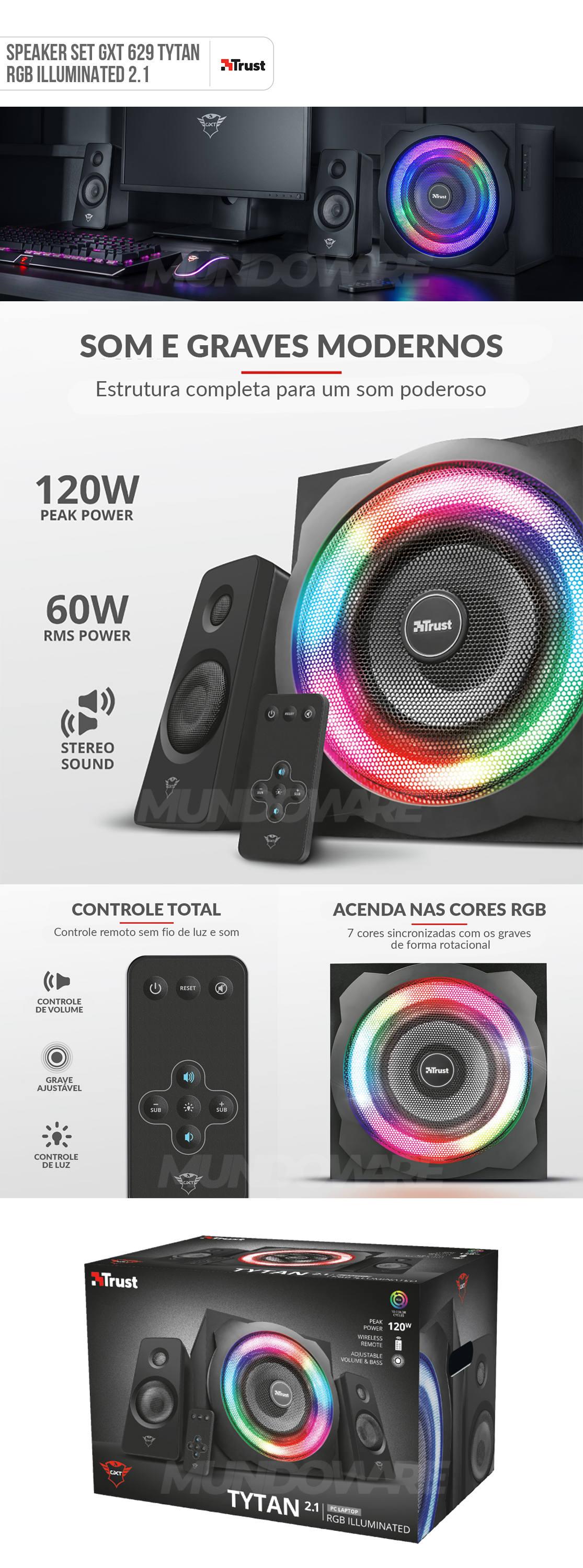 Speaker Set GXT 629 Tytan RGB com Controle Remoto Iluminação RGB Pulsante Caixa de Som 2.1 Intensa e Potente